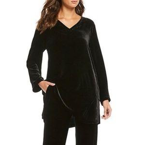 Eileen Fisher Velvet Bracelet Sleeve Silk Tunic, M